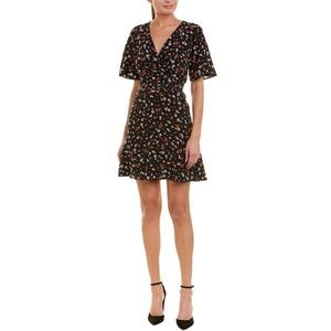 The Kooples Black Floral Silk A-line Dress Small